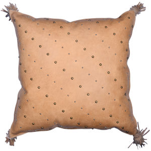 Genuine Leather Tan 20 In. X 24 In. Studded Leather Throw Pillow with Tassel