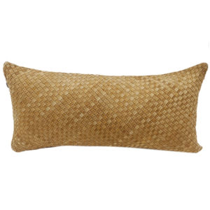 Butterscotch 30 In. X 14 In. Woven Suede Throw Pillow