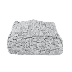 Chess Gray 50 In. X 60 In. Knit Throw