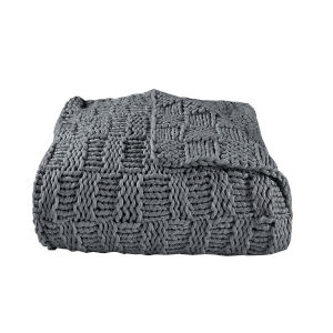 Chess Slate 50 In. X 60 In. Knit Throw
