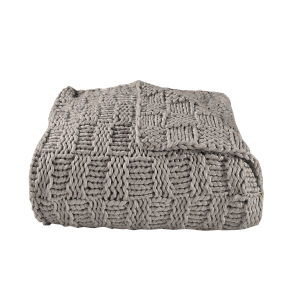 Chess Taupe 50 In. X 60 In. Knit Throw
