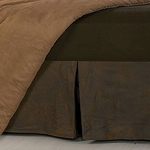 Faux Leather Chocolate Queen Bed Skirt