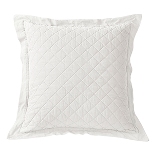 Linen Vintage White Diamond Pattern Quilted Euro Sham