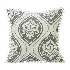 Belmont Green 18 x 18 Throw Pillow with Pom Trim
