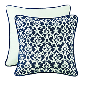 Kavali Navy and White Floral Jaquard Euro Sham