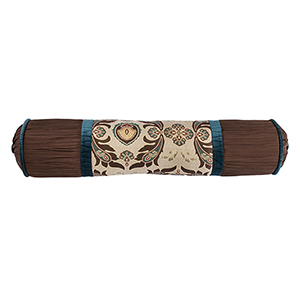Loretta Cream, Brown and Turquoise 8 x 36 In. Neck Roll