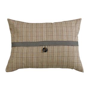 Piedmont Sepia Grey Plaid 16 x 21 In. Throw Pillow