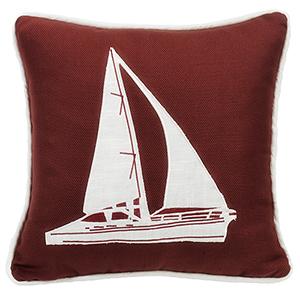 Monterrey Red Sailboat 18 x 18 In. Throw Pillow