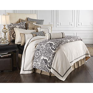 Augusta White and Khaki Super Queen Four-Piece Matelassé Coverlet Set