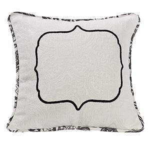Augusta Black and White Matelassé 18 x 18 In. Throw Pillow