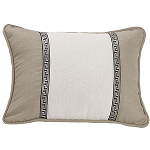 Augusta White and Khaki Matelassé 16 x 21 In. Throw Pillow
