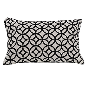 Augusta Black and White 10 x 16 In. Cutted Velvet Pillow