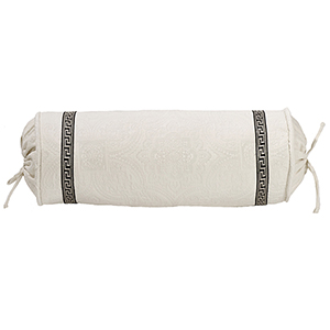 Augusta Off-White Matelassé 8 x 21 In. Neck Roll with Greek Key Trim
