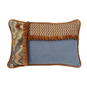 Lexington Blue and Copper 12 x 19 In. Throw Pillow with Ruffle Detail