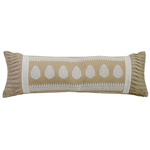 New Port Cream and White 10 x 30 In. Throw Pillow
