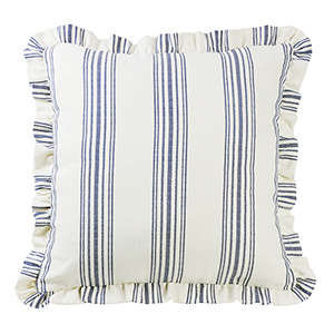Prescott Navy Stripe Euro Sham with Ruffle