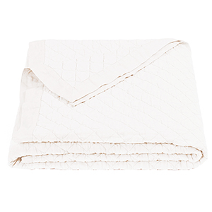 Linen Vintage White Diamond Pattern Full/Queen Quilt