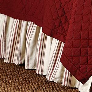 Prescott Red Stripe Queen Bed Skirt