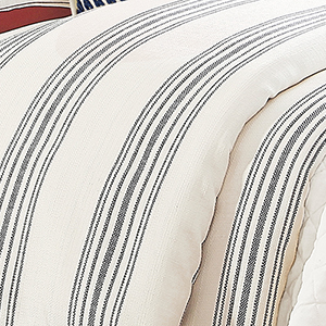 Prescott Navy Stripe Super Queen Duvet