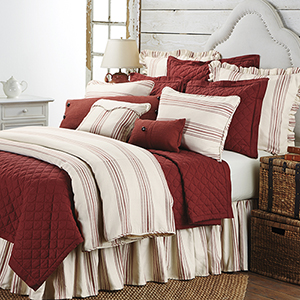 Prescott Red Stripe Super Queen Three-Piece Duvet Set