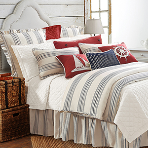 Prescott Navy Stripe Super Queen Three-Piece Duvet Set