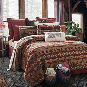 Cascade Lodge Brown and Red Twin Four-Piece Comforter Set