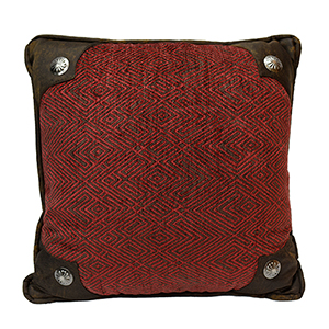 Wilderness Ridge Red Chenille 18 x 18 In. Throw Pillow with Conchos