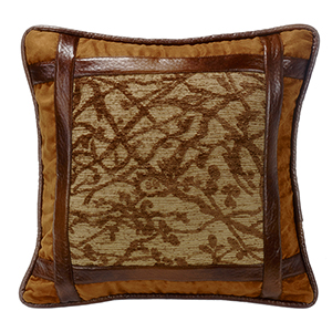 Highland Lodge Brown 18 x 18 In. Throw Pillow with Faux Leather Detail
