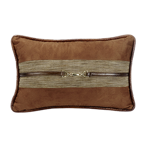 Highland Lodge Brown Suede 12 x 19 In. Throw Pillow with Buckle Detail