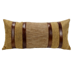Higland Lodge Herringbone 12 x 26 In. Throw Pillow with Faux Leather Stripes