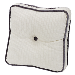 Whistler White and Charcoal 18 x 18 In.Tufted Throw Pillow