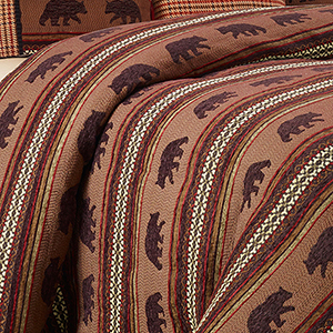 Red and Brown Bear Super Queen Duvet
