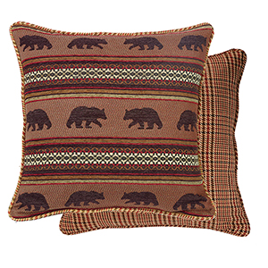 Bayfield Bear and Houndstooth Reversible Euro Sham