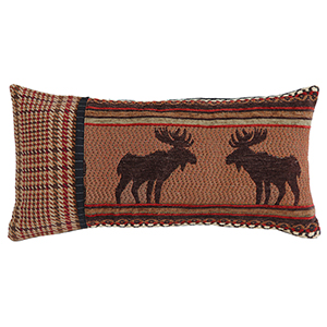 Bayfield Houndstooth and Moose 11 x 21 In. Throw Pillow