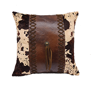 Faux Leather 18 x 18 In. Throw Pillow with Cowhide and Concho