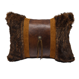 Faux Fur 16 x 21 In. Throw Pillow with Concho and Fringe