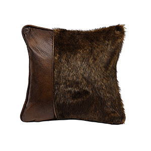 Faux Fur and Faux Leather 18 x 18 In. Throw Pillow