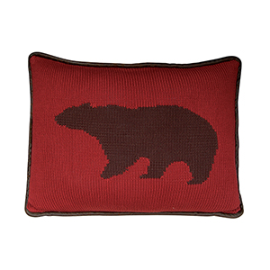 Red Bear 16 x 21 In. Knitted Throw Pillow