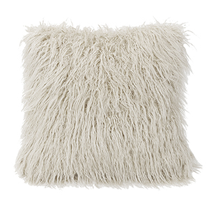Mongolian White Faux Lamb Fur 18 x 18 In. Throw Pillow