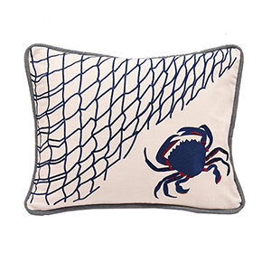 Crab and Fishing Net 16 x 21 In. Throw Pillow