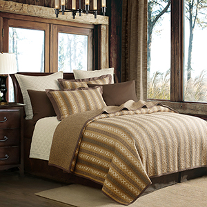 Hill Country Brown, Tan and Moss Three-Piece King Quilt Set