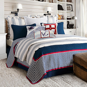 Liberty Navy Three-Piece Full/Queen Quilt Set