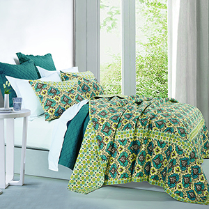Salado Green and Teal Three-Piece King Quilt Set
