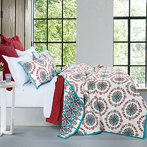 Sonora Ivory and Turquoise Three-Piece Full/Queen Quilt Set