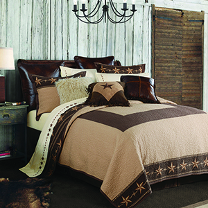 Star Ranch Tan and Brown Three-Piece Full/Queen Quilt Set