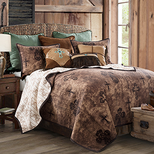 Ironwork Chocolate and Cream Three-Piece Full/Queen Quilt Set