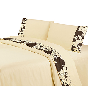 Cream Cowhide Three-Piece Twin Sheet Set