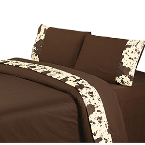 Chocolate Cowhide Three-Piece Twin Sheet Set