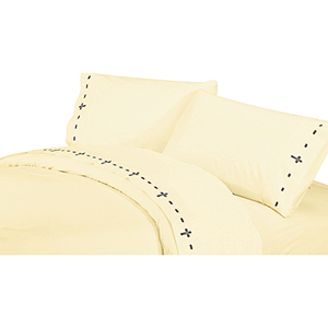 Cream Cross Four-Piece Queen Sheet Set