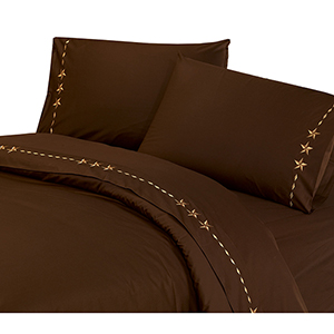 Chocolate Star Four-Piece King Sheet Set